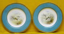 Pair WEDGWOOD Bone China Fish PLATES - Roach & Barbel by Arthur Holland, c1900
