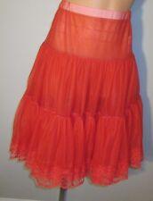 Vtg Red Square Dance Small Malco Modes Tea Length Chiffon Lace Slip Petticoat