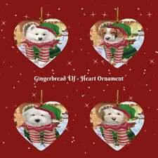 Gingerbread Elf Dog Cat Pet Photo Lovers Heart Christmas Tree Ornament Decor