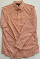 Banana Republic Non Iron Tailored Slim Fit Mens Orange Check Long Sleeve Button