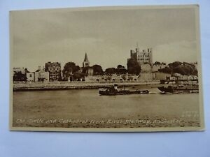 Rochester Castle & Cathedral from the River Medway. Marked FRITH RCR-39