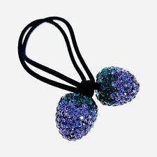Strawberry Hair Rope Wrap use Swarovski Crystal Hairpin Ponytail Holder Purple