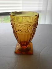 Vintage Amber Indiana Daisy 9 Ounce Footed Tumbler