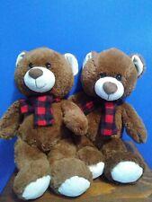 """North Pole Teddy Bear Plush plaid flannel scarf black & Red 15"""""""