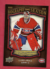 2009-10 CANADIENS CAREY PRICE BIOGRAPHY OF SEASON  # BOS 15 CARD