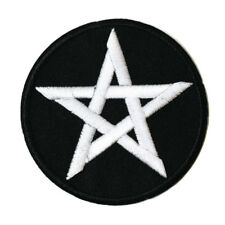 Pentagram Iron On Patch Embroidered Wiccan Wicca Witch Gothic Pentacle Black