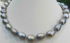 """New 11-13MM SILVER GRAY Freshwater Baroque PEARL NECKLACE 18""""AA"""