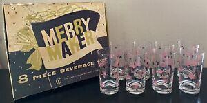 Vintage Federal Glass Merry Maker Beverage 8 Glasses Pink/Black New Old Stock