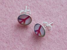 Sterling Silver Peace Sign Stud Earrings Free Gift Box