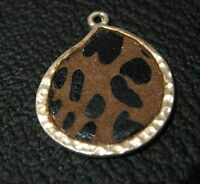 Lovely costume jewellery pendant in silver tone metal tear shaped with fabric