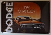 AUTO - SPORTWAGEN - DODGE 1974 CHARGER - BLECHSCHILD 30 x 20 cm  (BS598)