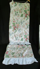2 Vintage Dan River King Size Pillowcases White Pink Blue Floral Ruffle Edge