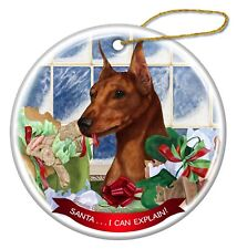 Red Mini Pinscher Dog Porcelain Ornament Pet Gift 'Santa. I Can Explain!'