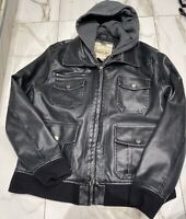 American Rag Men's L CIE Black Hooded Faux Leather Lined Full Zip Bomber Jacket