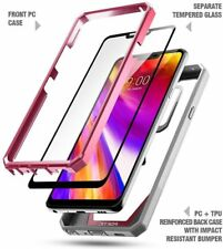 Case For LG G7 ThinQ Poetic【Guardian】Full-Body Rugged Clear Bumper Cover Pink