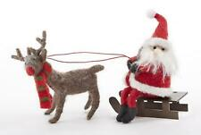 Delton Country Folk-Art Felted Wool Santa And Reindeer Sleigh