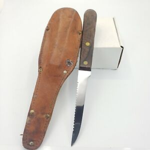 Vintage Ka-Bar Kabar 9in Overall Knife W/ Leather Sheath Fixed Blade Stainless