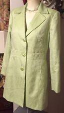 New Worthington Women's Peacoat Jacket Spring Green+White Circles Pockets Size10