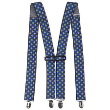 X Shape Elasticated Teal Mens Trouser Suspender Braces 35mm Wide with Metal Clip