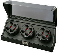 Diplomat Six 6 Watch Winder Black Finish w/ Carbon Fiber Interior 31-477