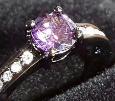 AMETHYST BLACK GOLD & CZ LADY,S RING SIZE 8 US