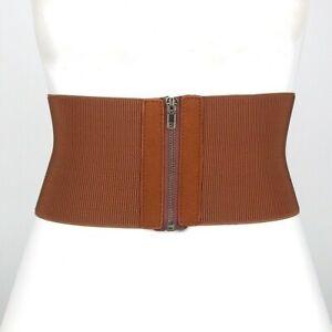 Women Elastic Belt Zip Up Corset Wide Vintage Zipper Retro Accessories