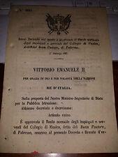 REGI DECRETO 1867 RUOLO IMPIEGATI SERV COLLEGIO MUSICA BUON PASTORIE di PALERMO