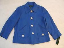 Lauren Ralph Lauren Womens 100% Linen Blazer Coat 8P 8 Button Pocket Blue $250