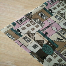 50x150cm Cotton Linen Fabric DIY Home Deco Fabric Printed House Tree Cat Pink F