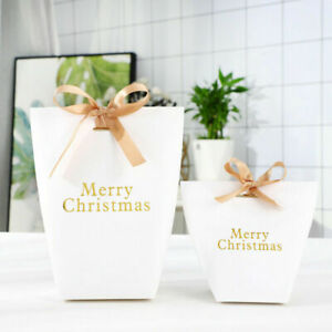 5/10Pcs White Christmas Xmas Party Paper Favour Candy Sweets Gift Boxes Ribbons