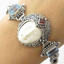 "925 Sterling Silver Natural Topaz Garnet Onyx Gemstone Goddess Link Bracelet 7"""