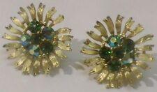 boucles d'oreilles vis LISNER ancien bijou vintage couleur or cristal vert 3620