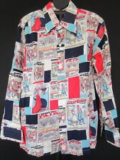 VTG Phelps Meager Men's Shirt L/S Movie Poster Ads Multicolor XL 17 -17 1/2