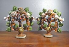 Pair Mexican Folk Art Pottery Tlaquepaque Tree of Life Adam Eve Candle Holder 6B