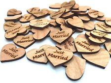 100 Streudeko Holz Herz Tischdeko JUST MARRIED Hochzeit Dekoherzen Streuteile