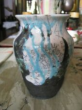 "Beautiful Crackle Look Vase Grey, Black, Teal Signed A Maflil 8"" High"