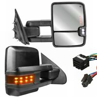 Pair Tow Mirrors For 14-18 GMC Sierra w/ Power Heated Fold Extended Turn Signal