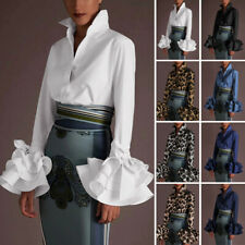 UK Womens Ladies OL Office V Neck Ruffled Flared Sleeve Tops Shirt Blouse Plus