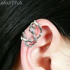 NEW SILVER DRAGON LURE EAR CUFF UPPER HELIX CLIP WRAP CARTILAGE PUNK GOTH RETRO