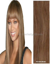 MEGA THICK DELUX FULL HEAD CLIP IN REMY HUMAN HAIR EXTENSIONS DARK BLONDE #12