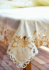 Super Large Oblong Table Cloth, Embroidered, Gold, Cutwork 180x315cm, FFD024C