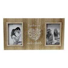 Wooden Double Photo Frame Heart String Art Wall Hanging Free Standing Picture