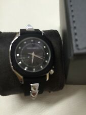 NIB Vince Camuto Blk & Silver Studded Strap Ladies Watch VC/5107BKBK