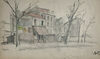 CLAUDE BILS (1883-1968) RARE DESSIN ORIGINAL VUE DE SAINT-DENIS DEBUT XX°