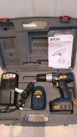Ryobi 14.4v CHI-1442P Hammer drill 2× batteries + charger and box