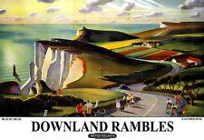 Art Beachy Head Easbourne East Sussex Downland Rambles British Rail Poster Print
