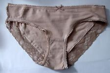 Chainstore Sze 10 Brazilian knickers panties briefs stretchy cotton rich natural
