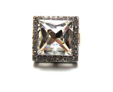Vintage Hollywood Look Clear Gray Square Shaped Silver Ring Crystal Rhinestones