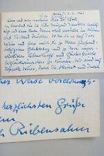 PIANIST Hans-Erich RIEBENSAHM (1906-1988): Signierte Glückwunschkarte an E KROLL