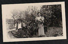 Antique Photograph Two Women in Cool Outfits Standing in the Garden